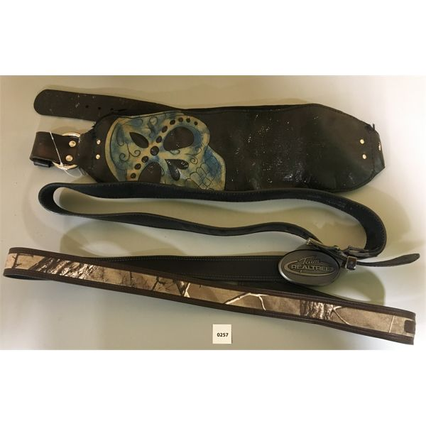 LOT OF 3 LEATHER BELTS; INCL. NEW REAL TREE REVERSIBLE