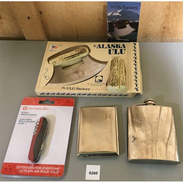 LOT OF 4; INCL. ALASKAN ULU KNIFE NEW