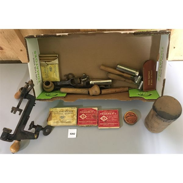 VINTAGE SEARS RELOADING LOT, INCL. OLD PRIMER BOXES W/CONTENTS & HAND PRESS, ETC