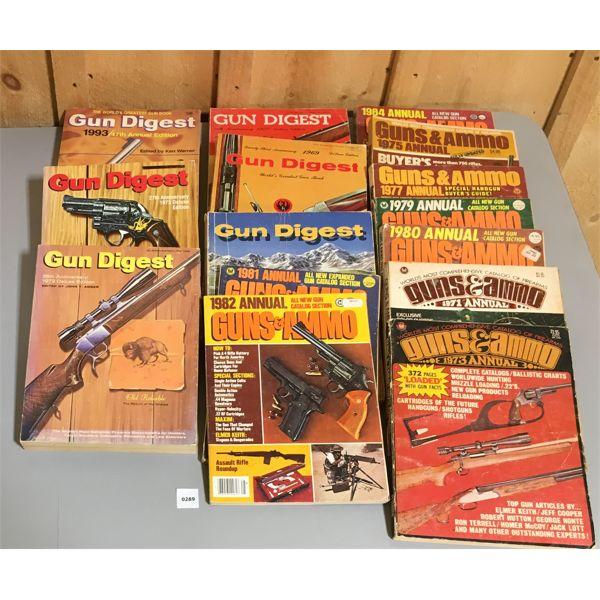 JOB LOT OF GUN DIGEST & GUNS & AMMO PUBLICATIONS