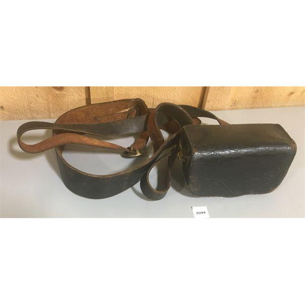 WWI CARTRIDGE BOX W/ LEATHER BELT & CROSS STRAP