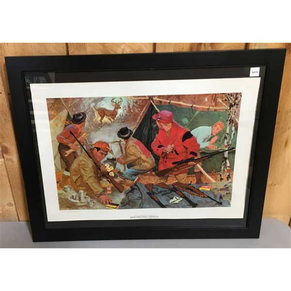"""WINCHESTER LITHO - """"DEER CAMP SURPRISE"""" - 25 X 31 INCHES FRAMED"""