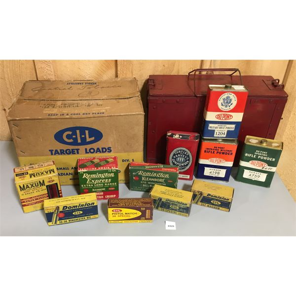 VINTAGE LOT - WOOD AMMO CRATE, 4 X POWDER TINS, MISC EMPTY AMMO BOXES