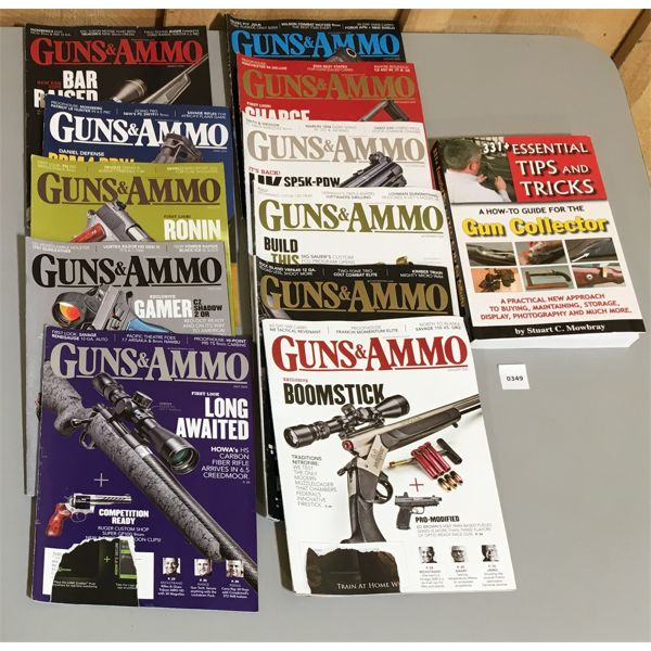 QTY OF GUNS & AMMO MAGAZINES & FIREARMS REFERENCE BOOK