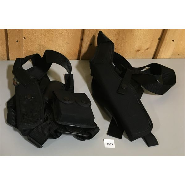 LOT OF 2 - UNCLE MIKE'S NYLON SHOULDER HOLSTERS, ONE W/ MAG HOLDER