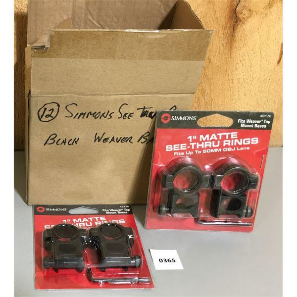 LOT OF 12 - SIMMONS 1 INCH BLACK SEE THRU SCOPE RINGS