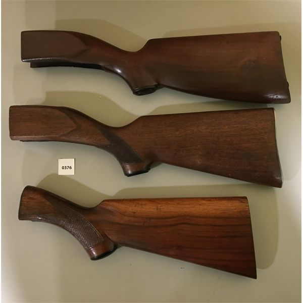 LOT OF 3 - WOOD SHOULDER STOCKS - TWO MISSING BUTT PLATE