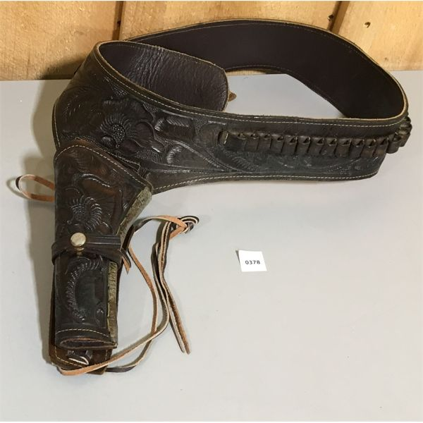 TOOLED LEATHER AMMO BELT & HOLSTER - .45 CAL. - 38 INCH