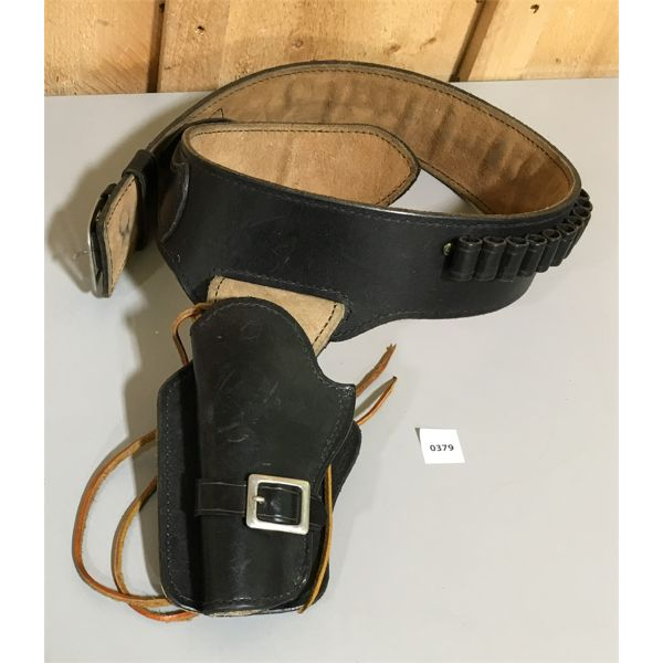 LEATHER AMMO BELT & HOLSTER  - 34 INCH