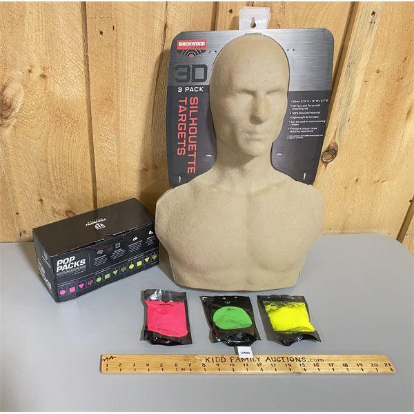 LOT OF 4 - 3D TARGETS X 3 & BOX OF 12 POP PACKS