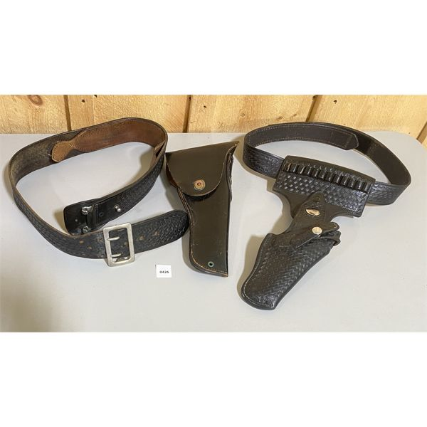 LOT OF 3 - LEATHER AMMO BELT W/ HOLSTERS - SZ 34 & SMALL