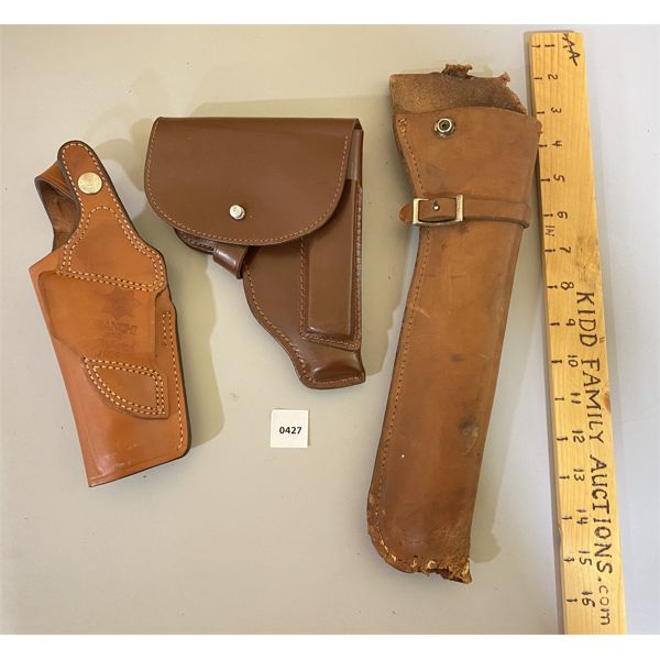 LOT OF 3 - LEATHER HOLSTERS  - BIANCHI & UNKNOWN MAKES