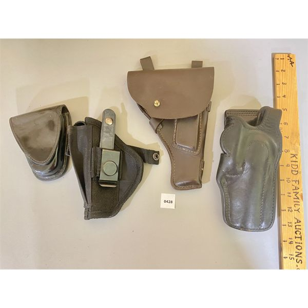 LOT OF 4 - LEATHER / CANVAS HOLSTERS  - TEX SHOEMAKER & UNKNOWN MAKES