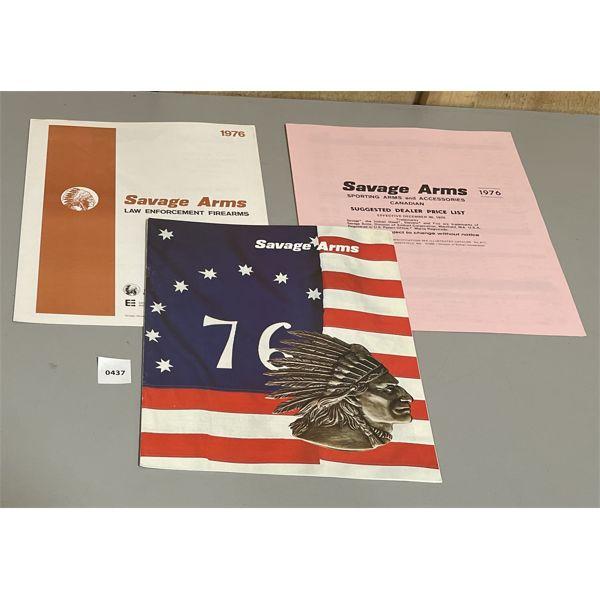 1976 SAVAGE CATALOG, PRICE LIST & LAW ENFORCEMENT FIREARMS BOOKLET
