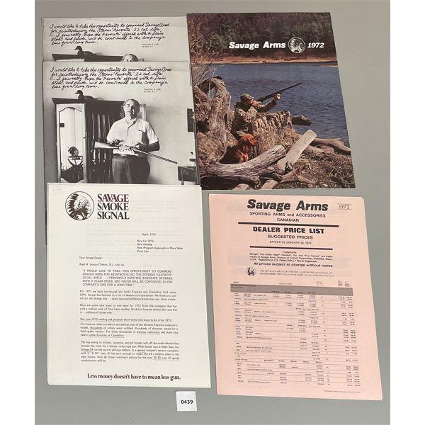 1972 SAVAGE CATALOG & DEALER PRICE LIST, ETC.