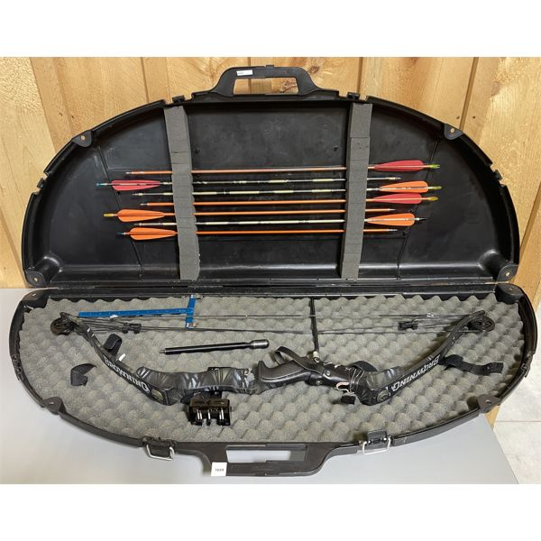 BROWNING BRIDGER II COMPOUND BOW W/ HARD CASE, TOOLS & 7 X ARROWS