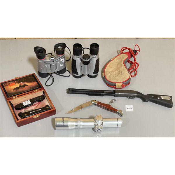 JOB LOT - BINOCULARS, TAOSCO 3 X 22 SCOPE, WINE SKIN, POCKET KNIVES, GUN LIGHTER