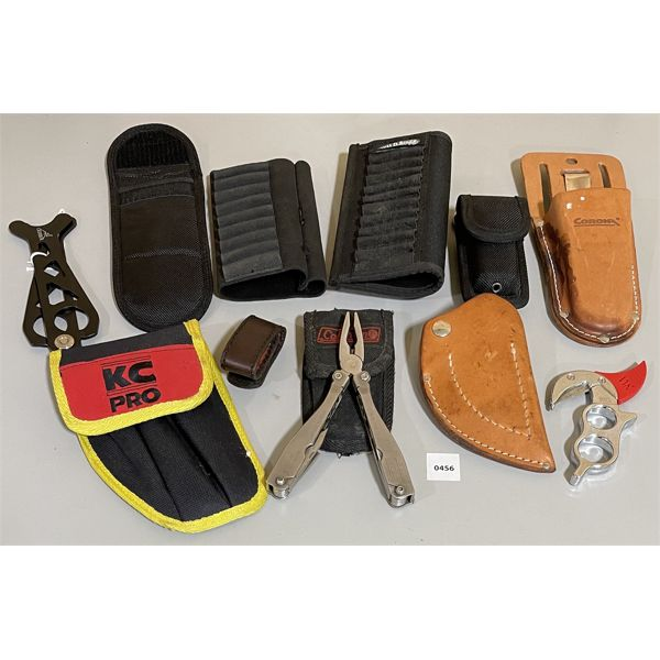JOB LOT - AMMO HOLDERS, POUCHES, SKINNING KNIFE