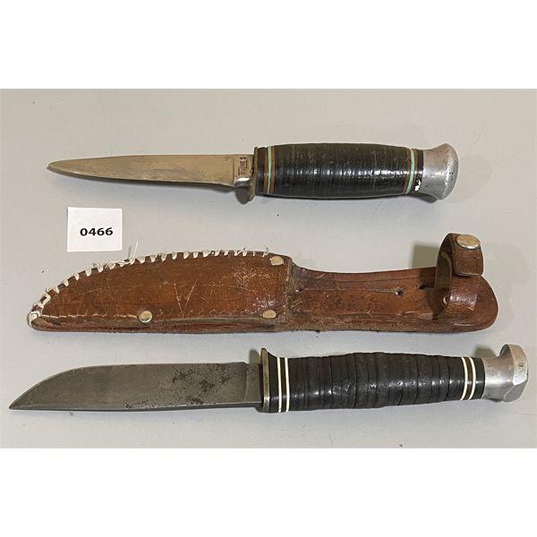 LOT OF 2 - HUNTING KNIVES - K-BAR, TRULINE - SOLOGIN - 4 INCH BLADES
