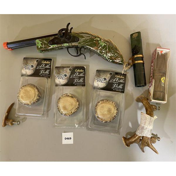JOB LOT - RUSTIC DRAWER PULLS, TOY CAP GUN, 2 X DUCK CALLS