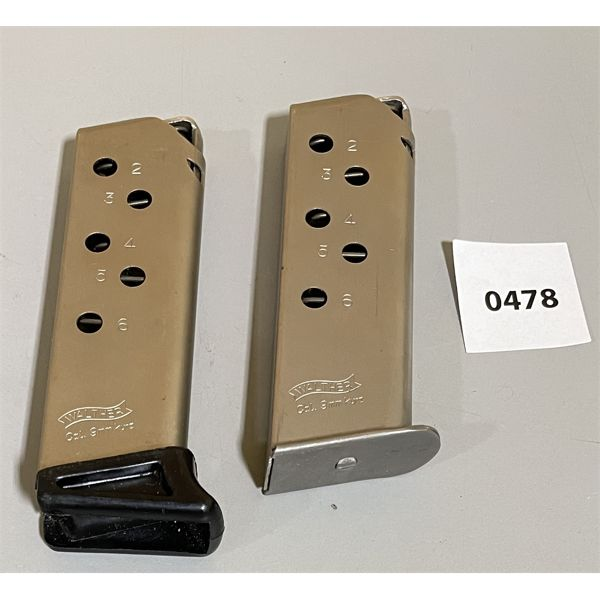 LOT OF 2 - WALTHER 9 MM MAGS