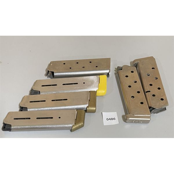 LOT OF 6 - 1911 .45 AUTO MAGS - STAINLESS