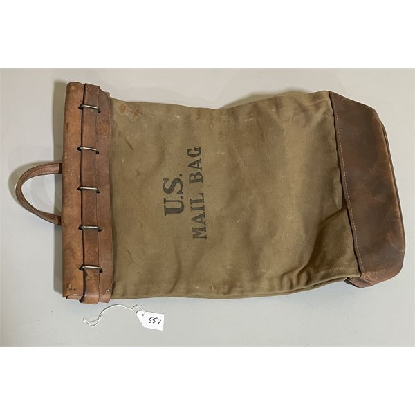 WWII U.S. MILITARY MAIL BAG - 1943 - CANVAS & LEATHER
