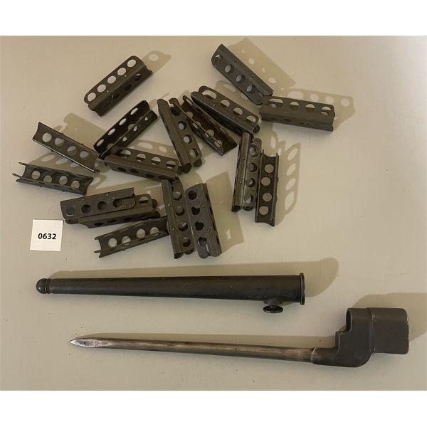 LOT OF 2 - 17 X ENFIELD STRIPPER CLIPS & SPIKE BAYONET