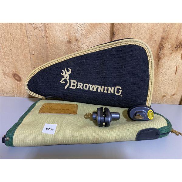 LOT OF 4 - BROWNING SOFT HANDGUN CASES & TRIGGER LOCKS