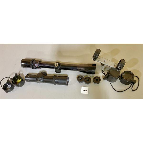 LOT OF 3 - TASCO PRO CLASS 1 X 22 PISTOL SCOPE (CLEAR), BUSHNELL SPORTVIEW 3-9 SCOPE (CLEAR), RINGS
