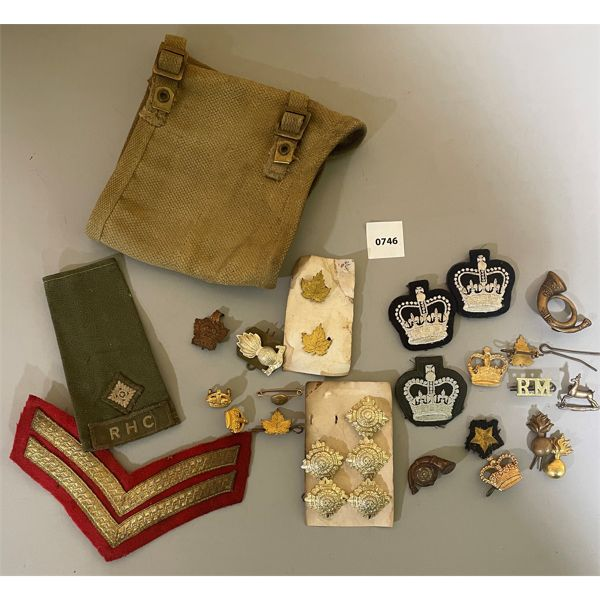 JOB LOT - CND MILITARY 1943 GAITER & CLOTH PATCHES, METAL INSIGNIA