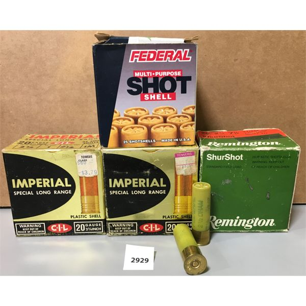 """AMMO: APPROX 85X 20 GA 2 3/4"""" #7.5- MAY INCLUDE SOME RELOADS"""