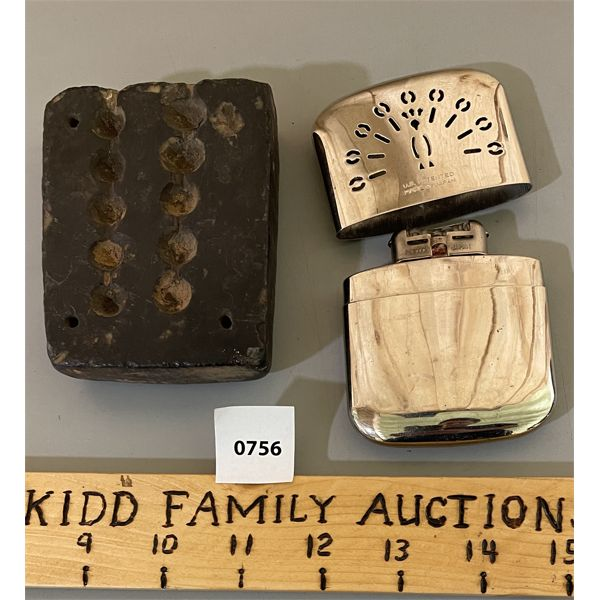 LOT OF 2 - INDIAN SOAP STONE BULLET MOULD & PEACOCK HAND WARMER