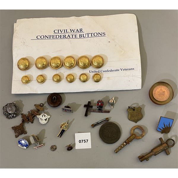 JOB LOT - REPRO UNITED CONF VETERANS BUTTONS. LAPEL PINS, KEYS.