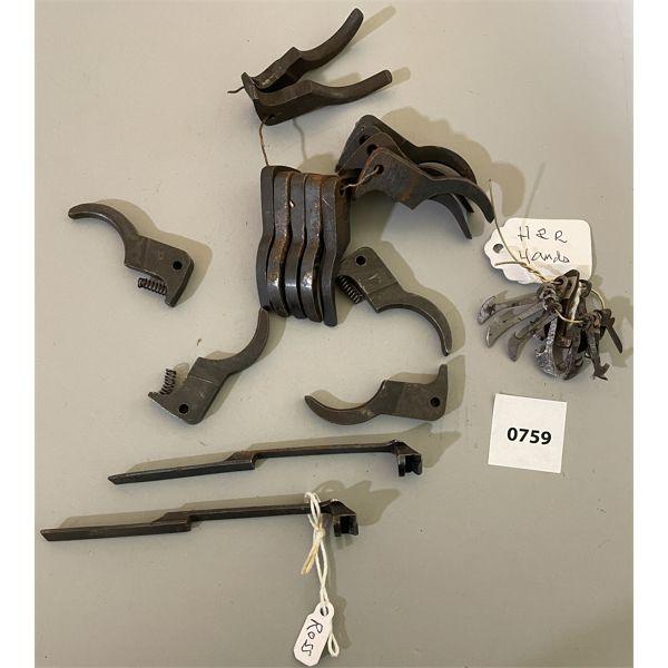 JOB LOT - H & R REVOLVER HANDS & MISC LONG GUN TRIGGERS & ROSS MDL 1910 RIFLE EXTRACTORS