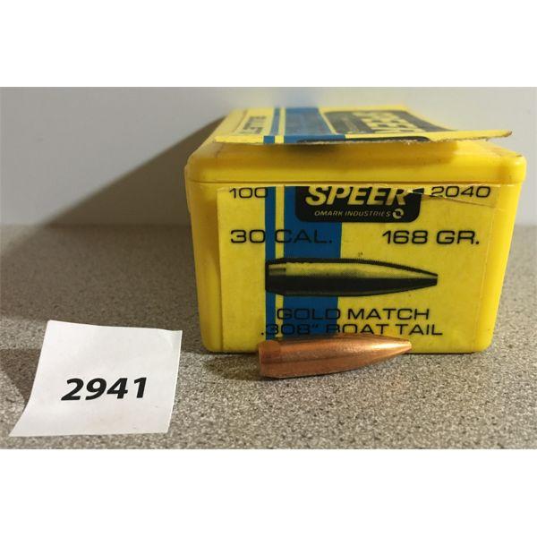 """BULLETS: 100X SPEER 30 CAL (.308"""") 168GR HP MATCH"""