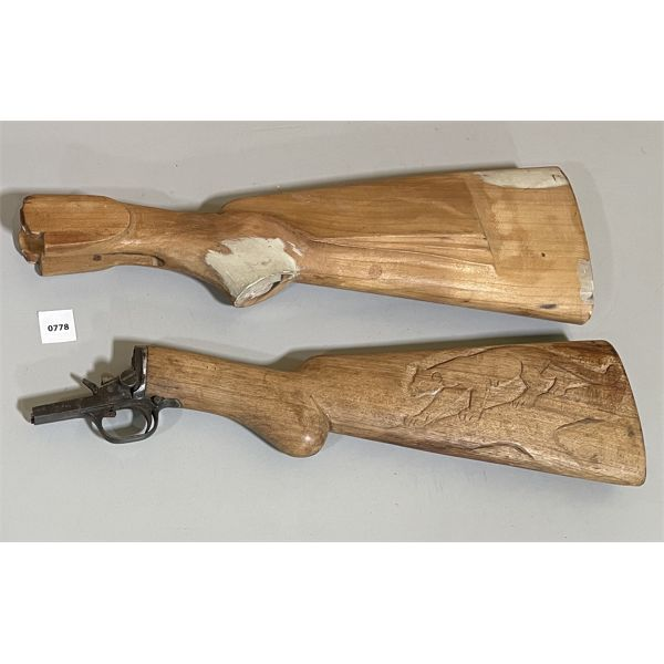 LOT OF 2 - BROWNING STOCK & TRIGGER. UNFINISHED STOCK.