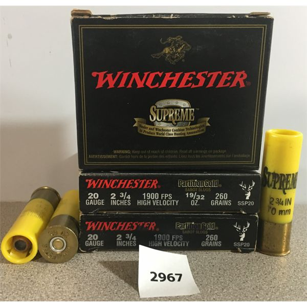"AMMO: 14X WINCHESTER 20 GA 2 3/4"" 260GR SABOT SLUGS"