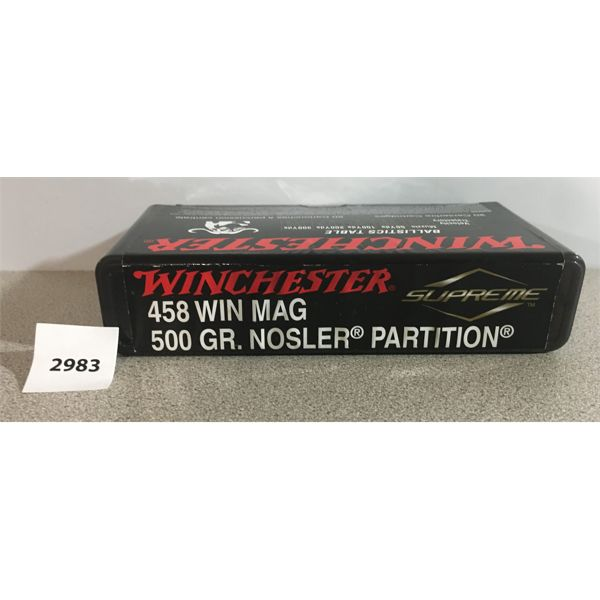 AMMO: 20 x WINCHESTER 458 WIN MAG, 500 GR. NEW