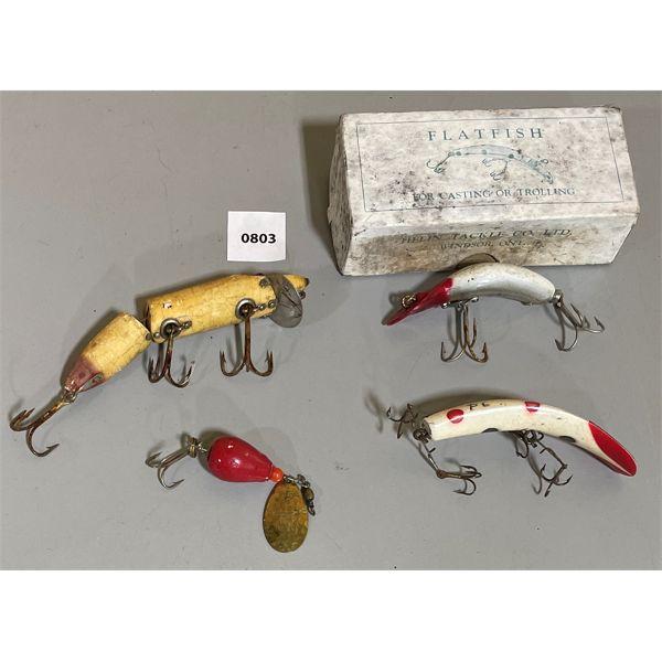 JOB LOT - VINTAGE LURES - INCL FLAT-FISH & HEDDON SPOKE, ETC