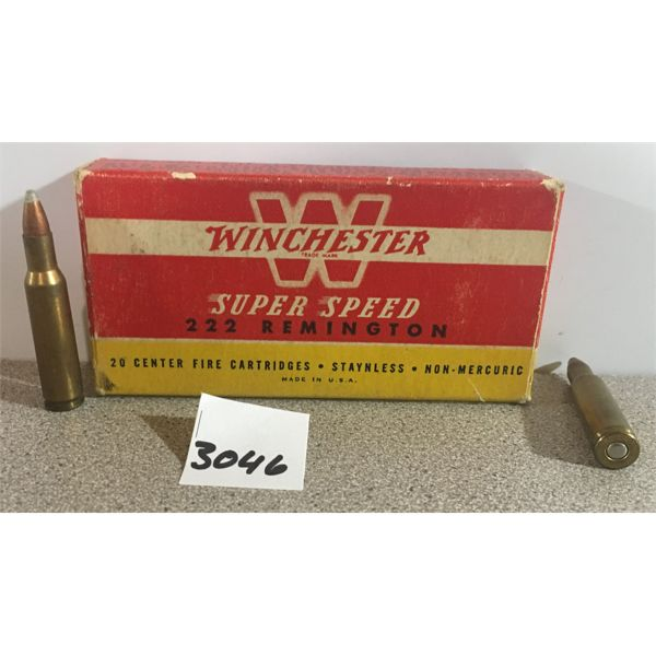 AMMO: 20 x WINCHESTER 222 REM 50 GR. SP