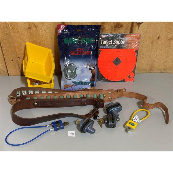JOB LOT - LEATHER SLING, GUN SOCK, TRIGGER LOCKS, ETC