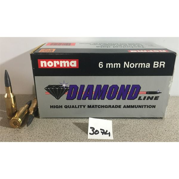 AMMO: 50 x 6MM NORMA BR, 105 GR.