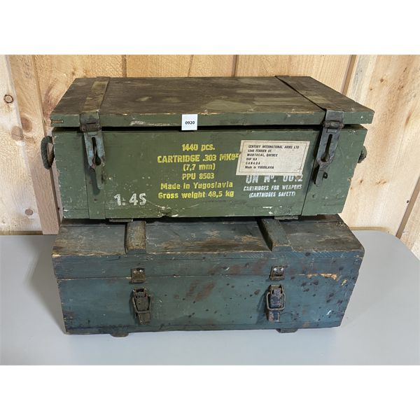 LOT OF 2 - AMMO CRATES - .303 CAL & UNKNOWN