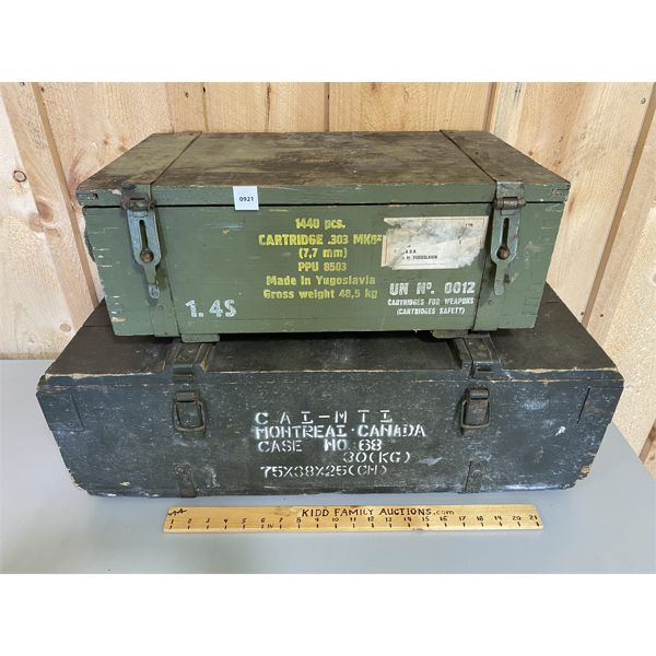 LOT OF 2 - AMMO CRATES - .303 & UNKNOWN