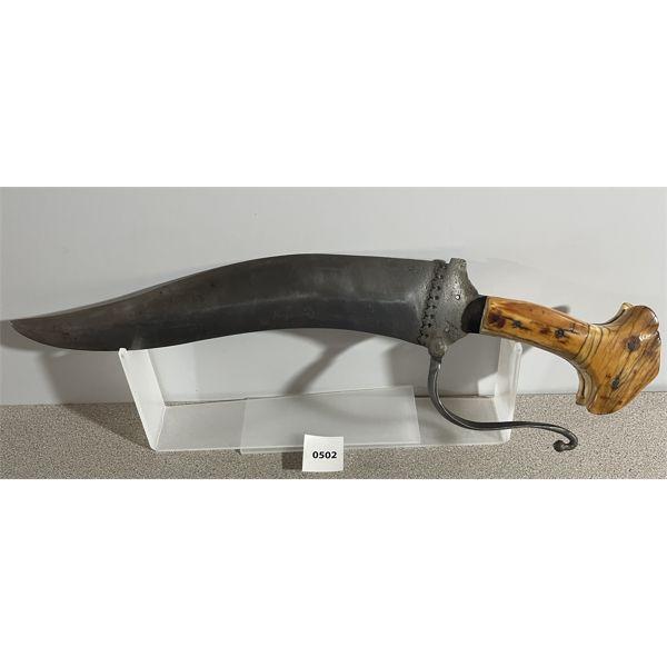 ANTIQUE POLISHED WOOD HANDLE KNIFE W/ HAND GUARD
