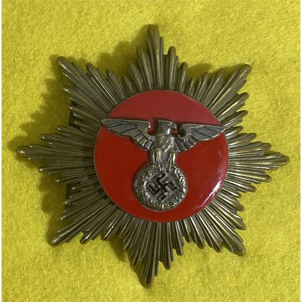 GERMAN WWII NAZI ARMY UNIFORM PIECE - BRONZE & RED ENAMEL FINISH
