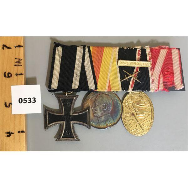 3 MEDAL BAR SET - WWI - 1914 / 1918 - PRUSSIAN / BADEN