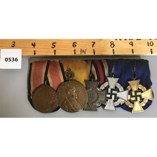 5 MEDAL BAR SET - 1904-06 & 1914-18 - IMPERIAL GERMANY - COLONIAL MEDALS