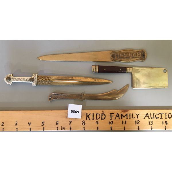 LOT OF 4 - BRASS OPENERS - 8.5 INCHES
